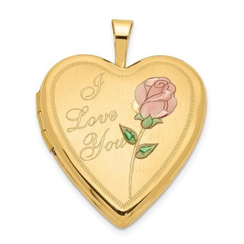 14K 20mm Enameled Rose I LOVE YOU Heart Locket