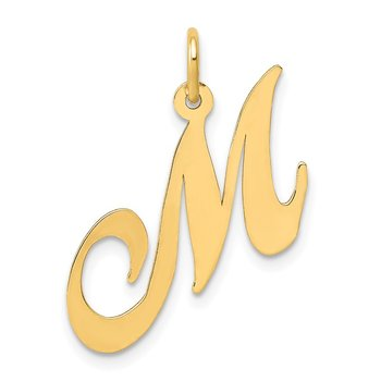 14K Medium Fancy Script Letter M Initial Charm