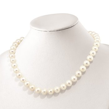 Sterling Silver RH 10-11mm White FWC Pearl CZ Clasp Adjust. Necklace