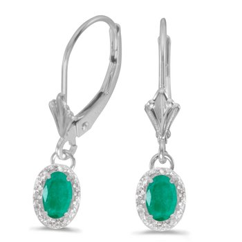 10k White Gold Oval Emerald And Diamond Leverback Earrings