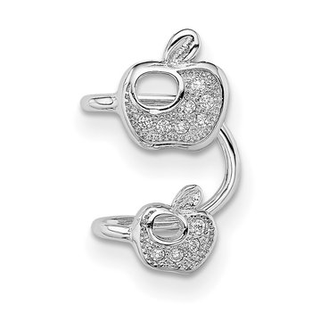 Sterling Silver Rhodium-plated CZ Double Apple Right Cuff Earring