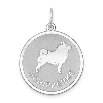 Sterling Silver Rhodium-plated Schipperke Disc Charm