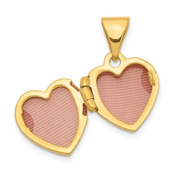 14K Diamond 11mm Heart Locket Pendant