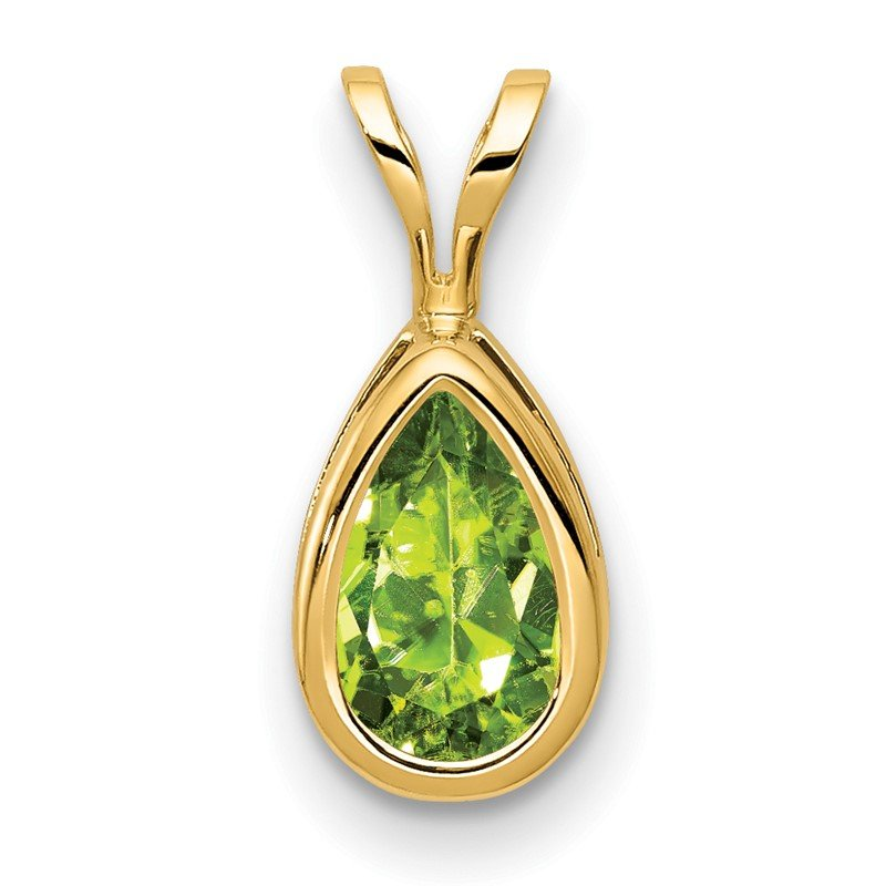 Quality Gold 14k 8x5mm Pear Peridot bezel pendant