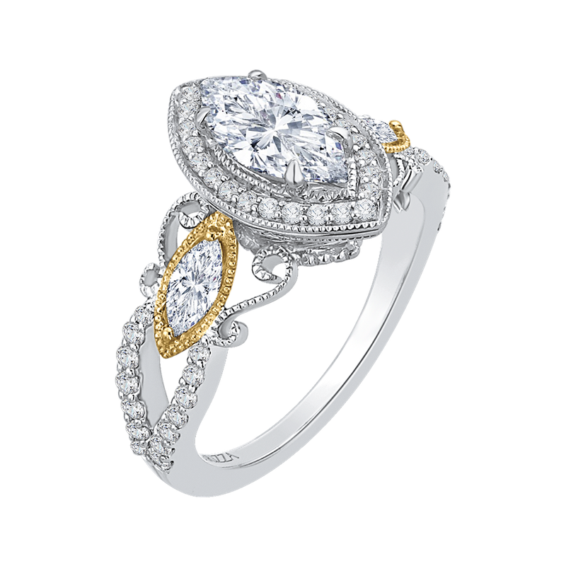 Carizza 14K Two-Tone Gold Marquise Diamond Halo Engagement Ring (Semi-Mount)
