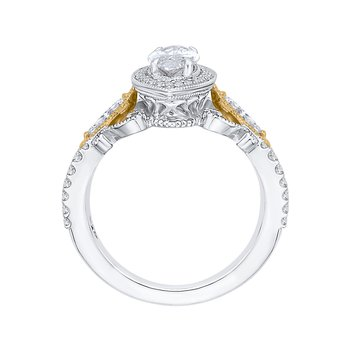 14K Two-Tone Gold Marquise Diamond Halo Engagement Ring (Semi-Mount)