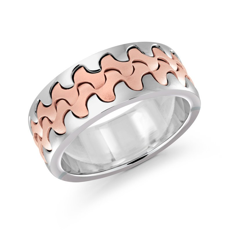 Mardini Catch the wave with this 9mm two-tone white and rose gold interlock center band