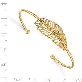 Leslie's Sterling Silver Gold-tone Leaf Cuff Bangle