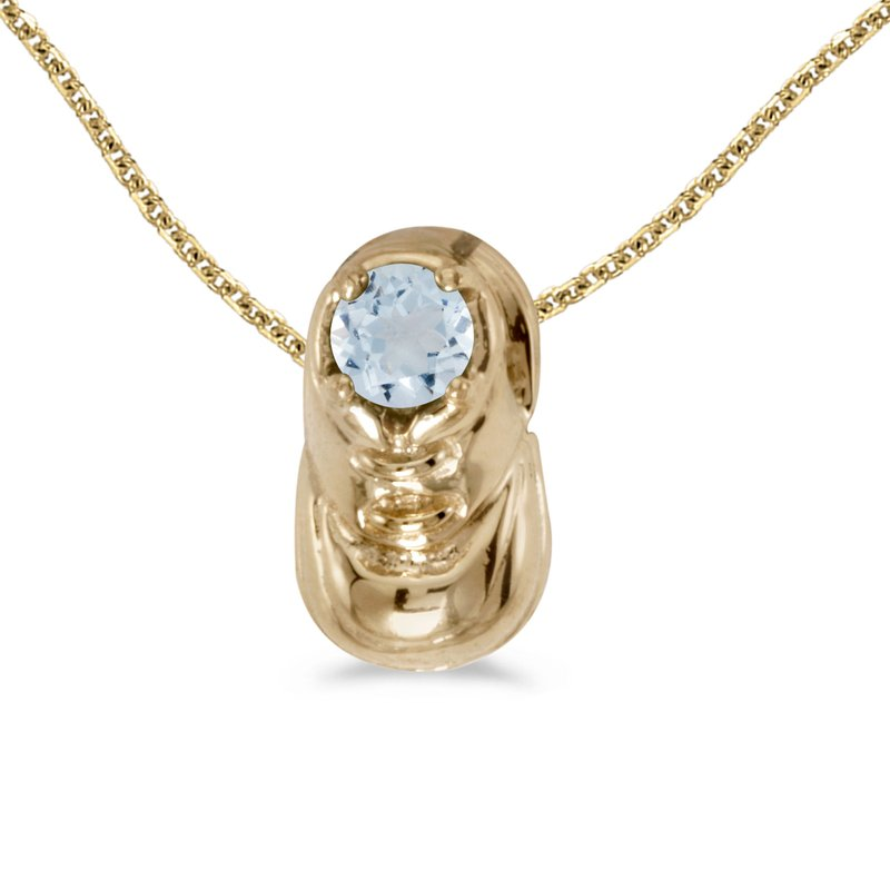 Color Merchants 14k Yellow Gold Round Aquamarine Baby Bootie Pendant
