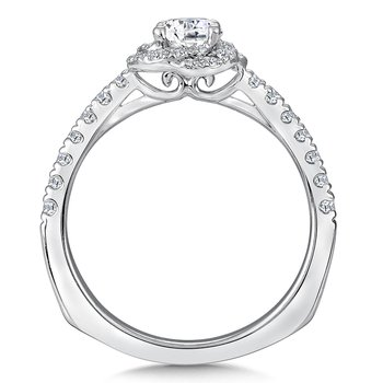 Floral shape halo .31 ct. tw., 3/8 ct. round center