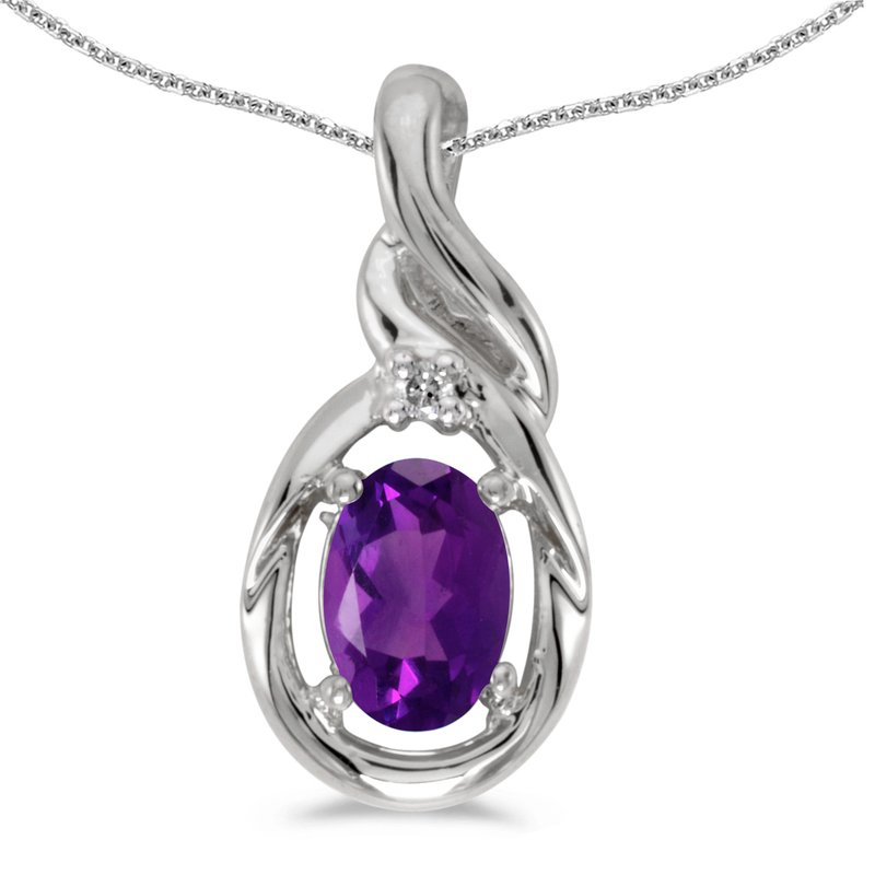 Color Merchants 10k White Gold Oval Amethyst And Diamond Pendant