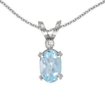 14k White Gold Oval Aquamarine And Diamond Filagree Pendant