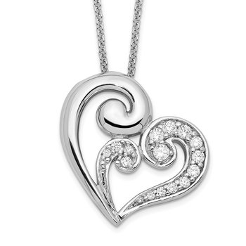 Sterling Silver & CZ A Mothers Journey 18in Heart Necklace