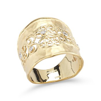 14K-Y FILIGREE RING, 0.05CT