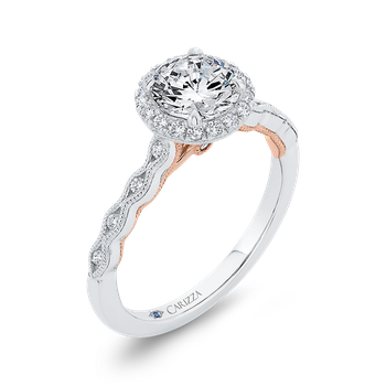 18K Two-Tone Gold Diamond Halo Engagement Ring (Semi-Mount)