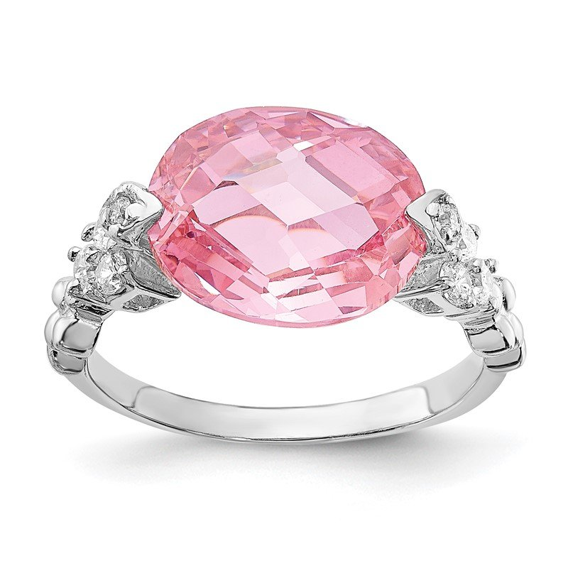 Quality Gold Sterling Silver Pink and Clear CZ Ring