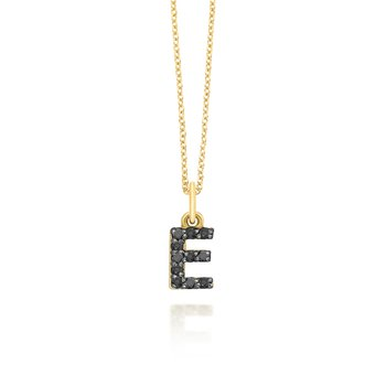 "Black Diamond Baby Block Initial ""E"" Necklace"