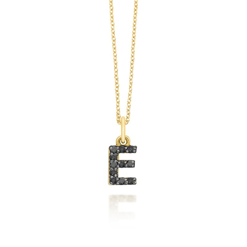 "KC Designs Black Diamond Baby Block Initial ""E"" Necklace"