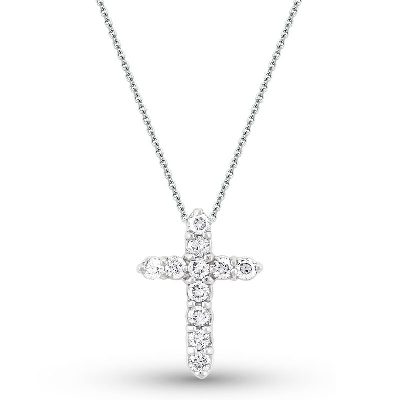 KC Designs Diamond Cross Necklace in 14k White Gold with 11 Diamonds weighing .45ct tw.
