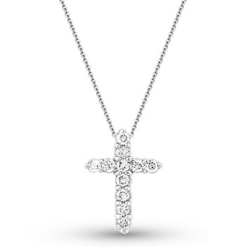 Diamond Cross Necklace in 14k White Gold with 11 Diamonds weighing .45ct tw.