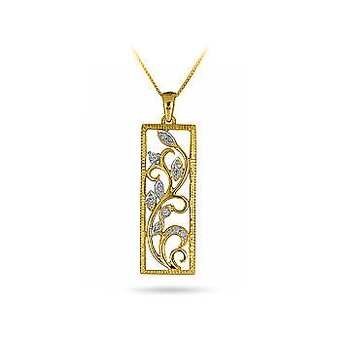 14K YG Diamond Framed Vine Pendant in Prong Setting