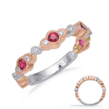 Rose & White Gold Ruby & Diamond Band