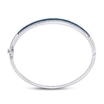 14kt White Gold Womens Round Blue Color Enhanced Diamond Bangle Bracelet 1-3/8 Cttw