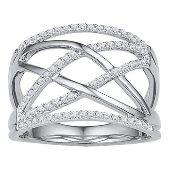 10kt White Gold Womens Round Diamond Crisscross Crossover Band Ring 1/3 Cttw