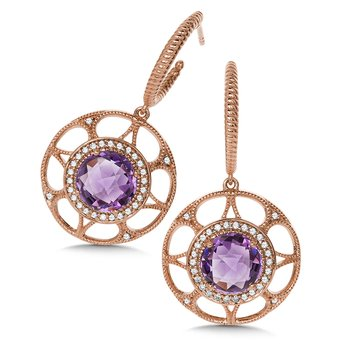 Amethyst and Diamond 14K Rose Gold Earrings