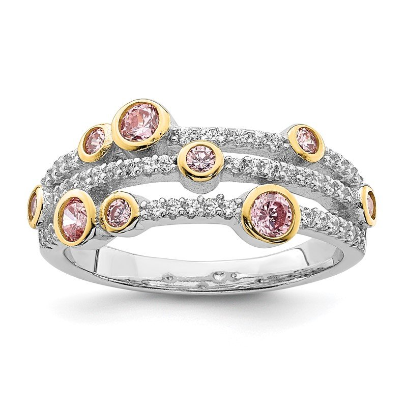 Quality Gold Sterling Silver Rhodium/Gold-tone Pink & White CZ Ring