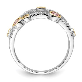 Sterling Silver Rhodium/Gold-tone Pink & White CZ Ring
