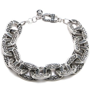 Sterling Silver Link Bracelet with Lobster Clasp