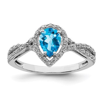 Sterling Silver Rhodium Blue Topaz & Diam. Ring