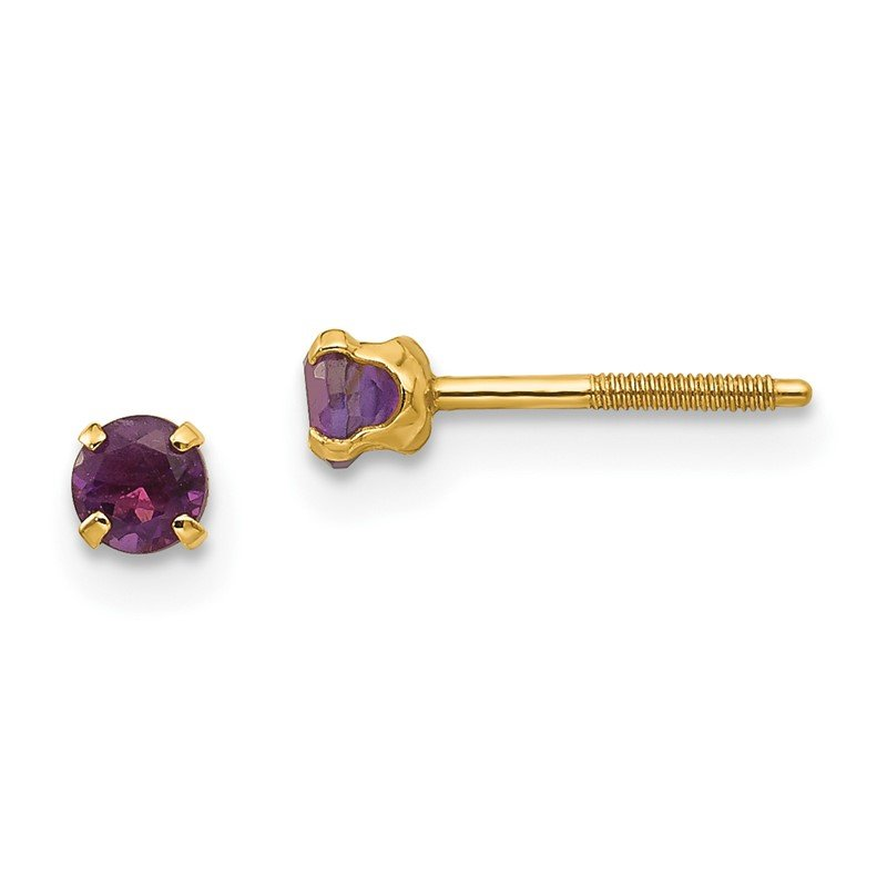 Quality Gold 14k Madi K 3mm Amethyst Earrings