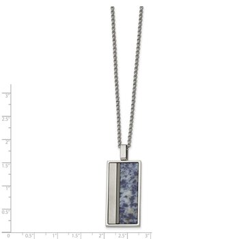 Stainless Steel Brushed & Polished Black IP w/Blue Spot Stone Necklace