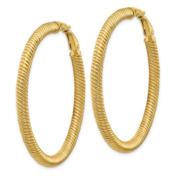 14k 4x40mm Twisted Round Omega Back Hoop Earrings