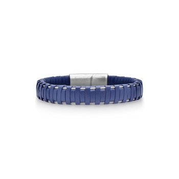 Blue Leather Wrapped Bracelet with Grey Clasp