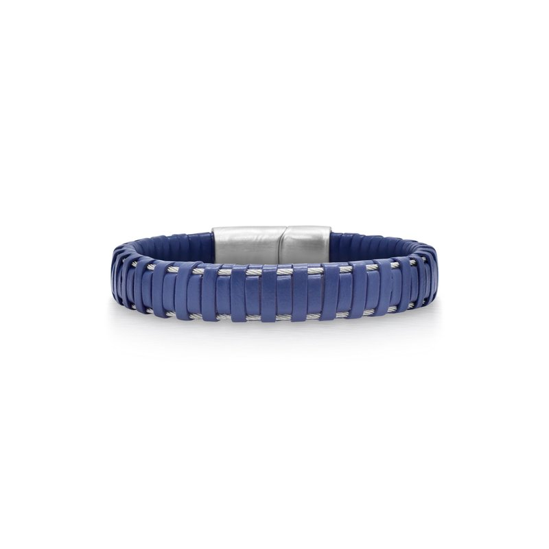 ALOR Blue Leather Wrapped Bracelet with Grey Clasp