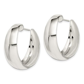Sterling Silver Fancy J-Hoop Post Earrings