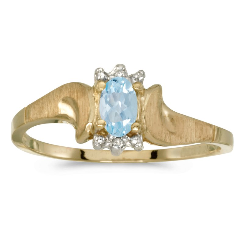 Color Merchants 10k Yellow Gold Oval Aquamarine And Diamond Satin Finish Ring