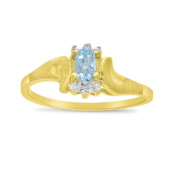 10k Yellow Gold Oval Aquamarine And Diamond Satin Finish Ring