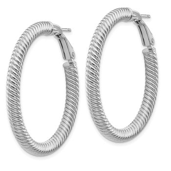 14k 4x30mm White Gold Twisted Round Omega Back Hoop Earrings