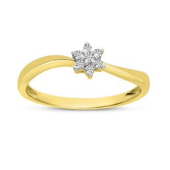 10K Yellow Gold Diamond Cluster Ring