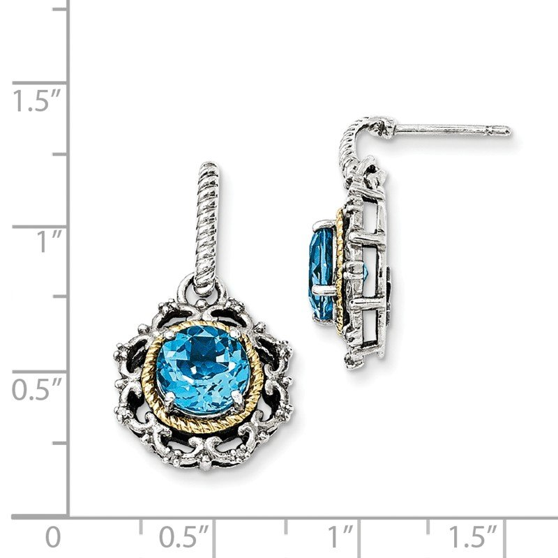 Shey Couture Sterling Silver w/14k Antiqued Blue Topaz & Diamond Post Earrings