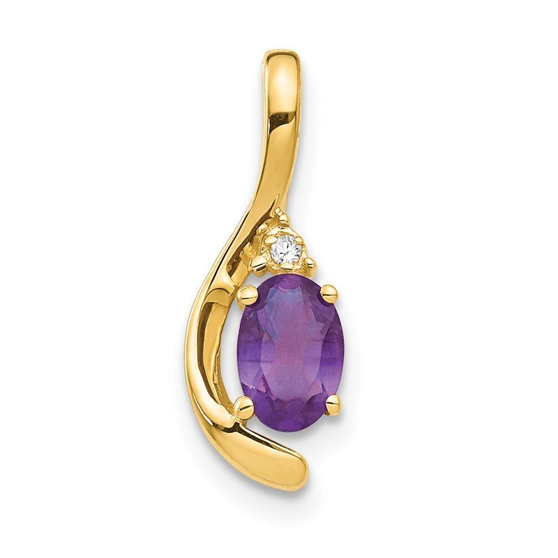 Quality Gold 14k Amethyst and Diamond Pendant