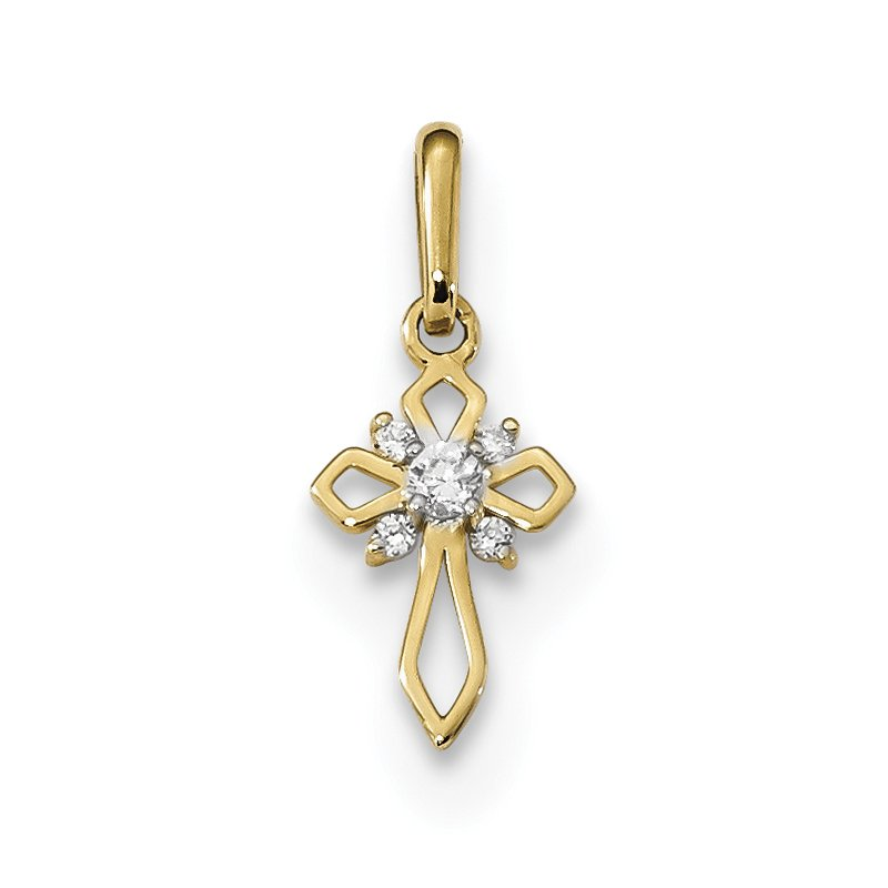 Quality Gold 14k Childrens Fancy CZ Cross Pendant