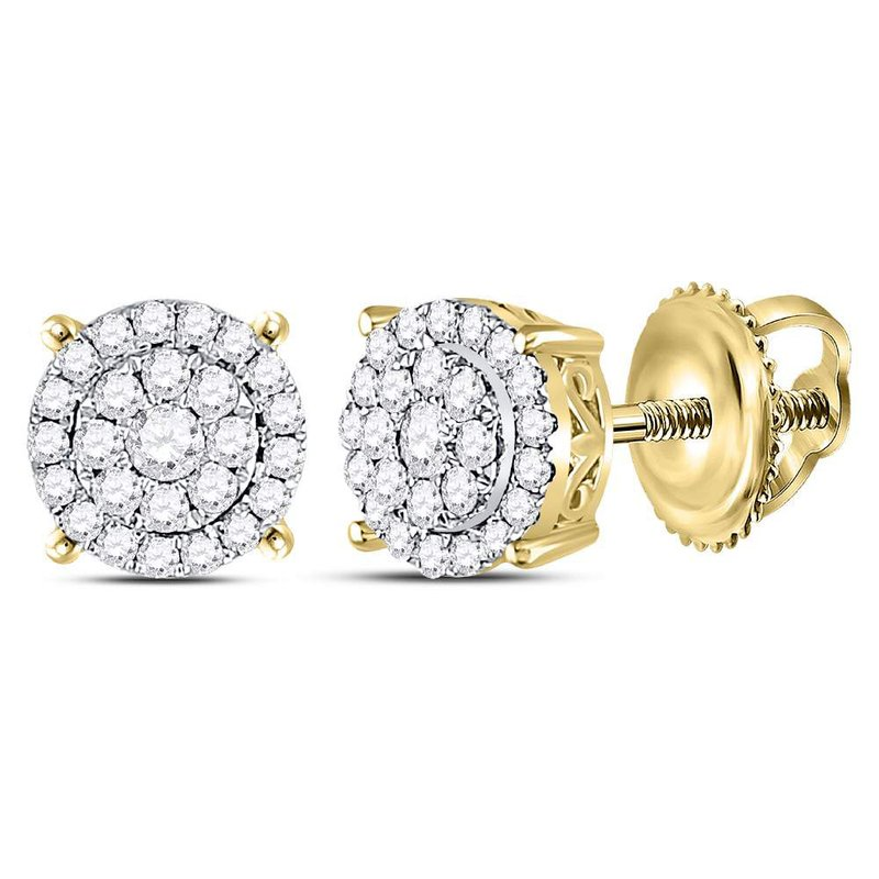 Kingdom Treasures 14kt Yellow Gold Womens Round Diamond Concentric Circle Cluster Earrings 1/3 Cttw