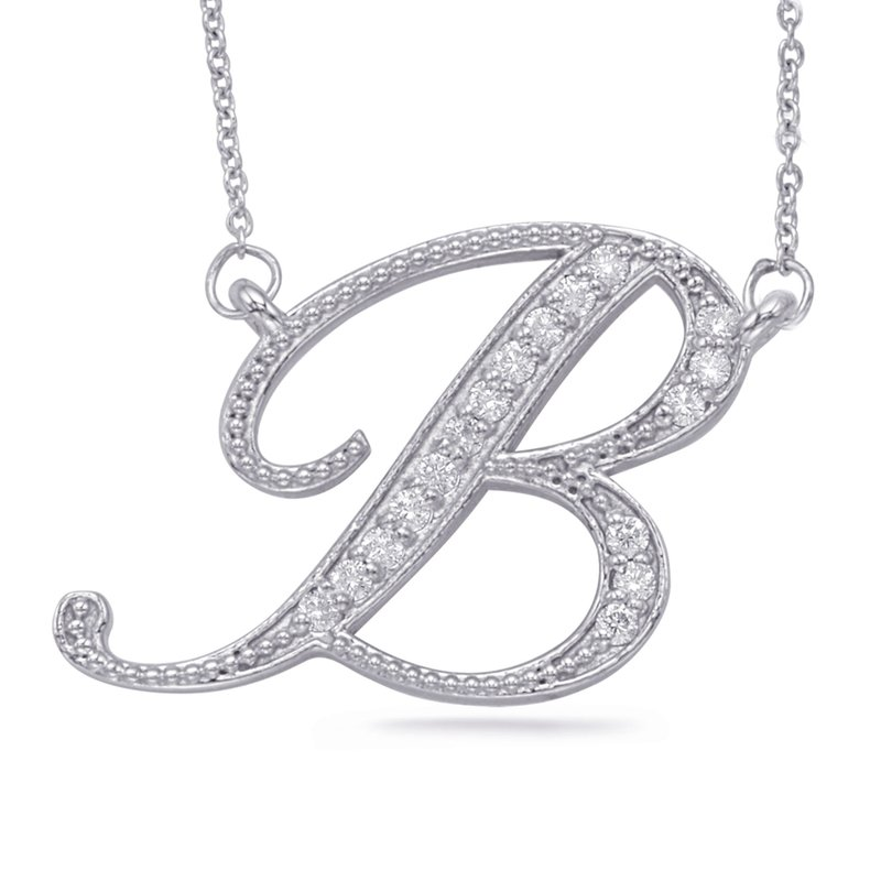 S. Kashi  & Sons White Gold Diamond Initial B Pendant