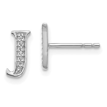 14k White Gold Diamond Initial J Earrings