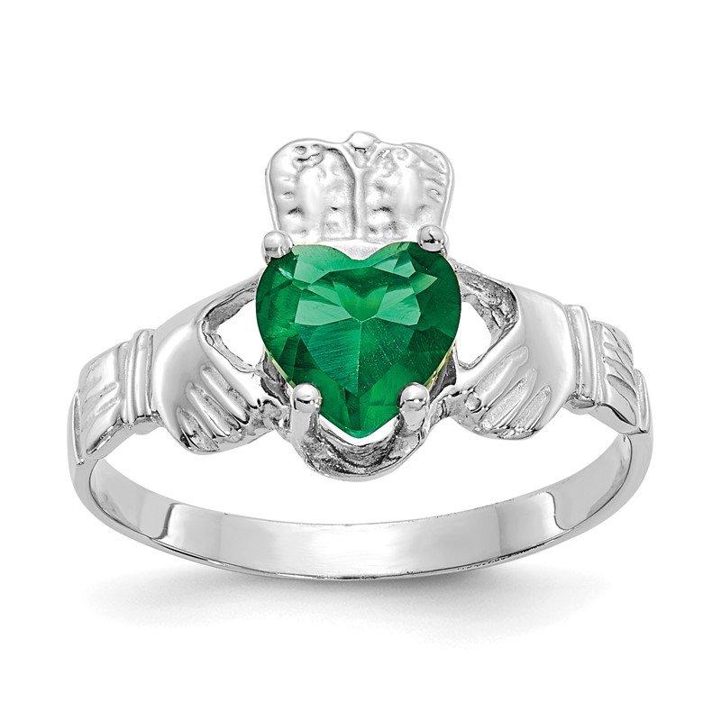 Quality Gold 14k White Gold May CZ Birthstone Claddagh Ring